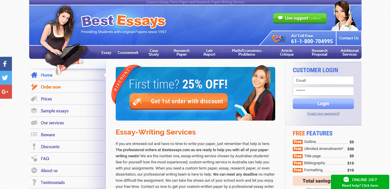 bestessays.com customer reviews One of the oldest companies in educational industry, provides services from 1996 thousand of students relay on bestessays and are satisfied with best results.